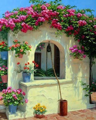 Pintura Moderna al Óleo: Pinturas: Paisajes con flores