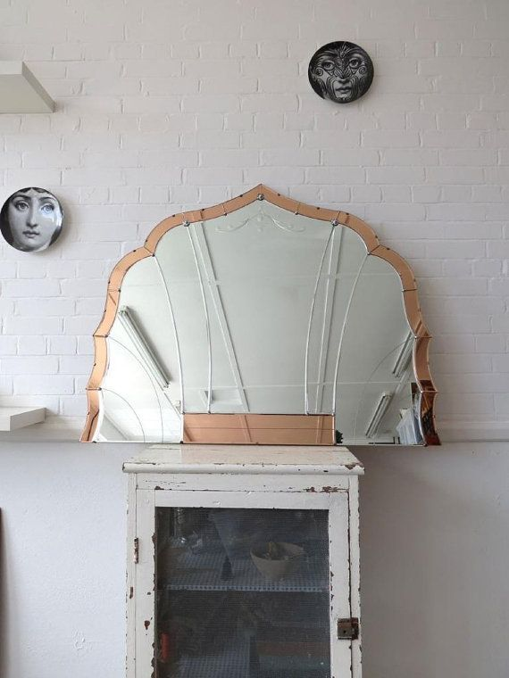 Vintage Extra Large Art Deco Bevelled Edge Wall Mirror Colored Panels Overmantle