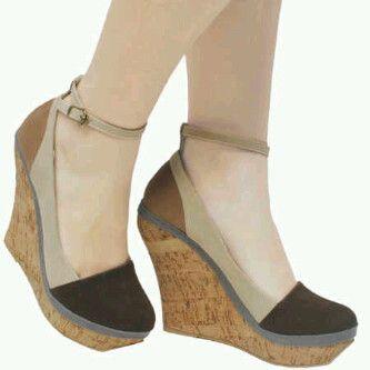 Kode : AWF-332, Nama : Wedges Shoes Moka Krem & Dark Choco Casual, Price : IDR 175