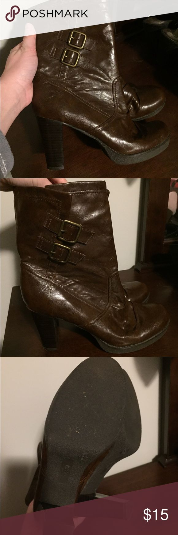 Mossimo brown heeled boots Slip on heeled boots. Mossimo brand. Worn twice. Size 8 1/2 Mossimo Supply Co Shoes Combat & Moto Boots
