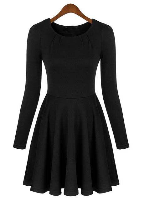 A Line Long Sleeve Black Dress with Round Neck | martofchina.com