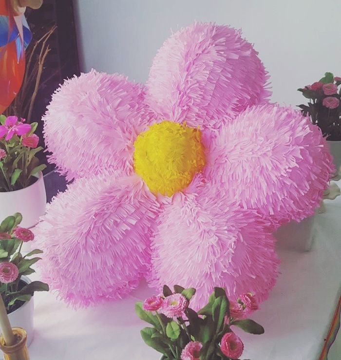 Flower piñata from a Rainbow Birthday Party on Kara's Party Ideas | KarasPartyIdeas.com (5)