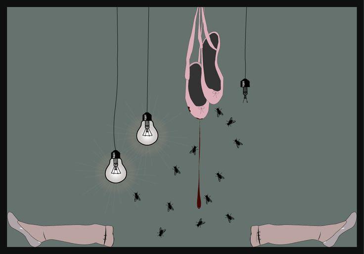 digital art, creepy, ballerina, illustration