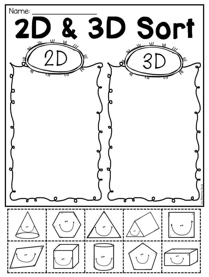 First Grade 2d And 3d Shapes Worksheets Pre K 4 Shapes