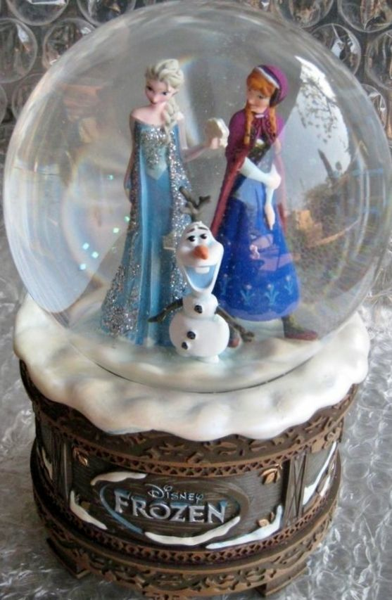 "Disney ""Frozen"" Music Box Snow Globe Princess Anna Elsa Olaf"