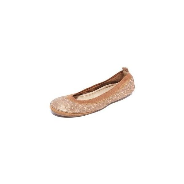 Yosi Samra Samara Frosted Croc Embossed Flats ($64) ❤ liked on Polyvore featuring shoes, flats, sienna, leather shoes, flat shoes, foldable flats, metallic ballet flats and foldable flat shoes