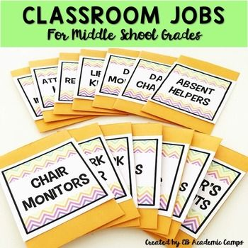 """These Classroom Jobs & Class Schedule Cards are perfect for your upper grades or middle school classrooms! This entire resource is also EDITABLE, so you can customize to your specific classroom needs! The bright and cheery pastel chevron design goes great with any classroom decor or theme!INCLUDED IN THIS RESOURCE:- 14 CLASSROOM JOBS CARDS for Middle School & Upper Grades Classrooms in TWO different sizes (2.22"""" x 2"""" - perfect for coin size envelopes - and 3.5"""" x 4.75"""")- Chair Monitor..."""