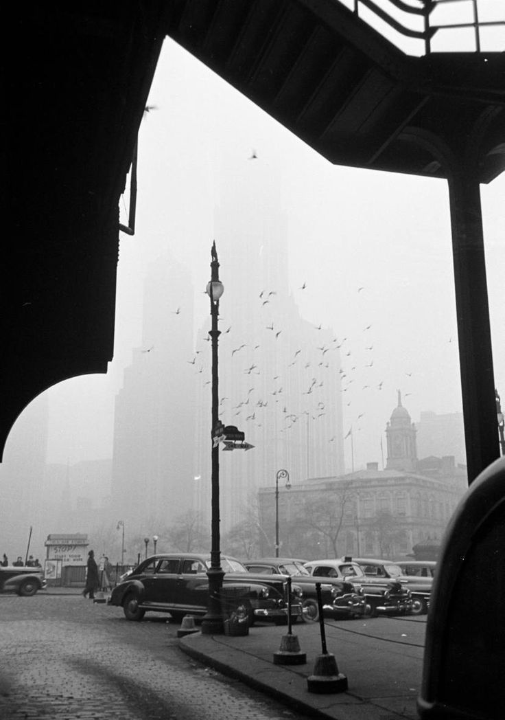 The City in Fog, with City Hall and Woolworth Building in Background, 1950
