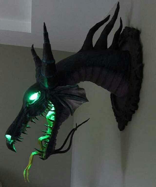 Papermache dragon (in dim light,  illuminated).