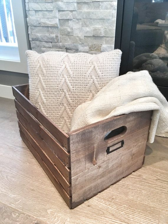 Rustikale Holzkiste Rustic Home Decor Blanket Crate Wood   – Farmhouse Bath