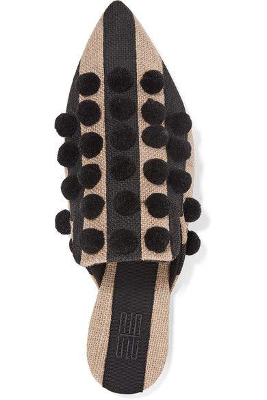 Sanayi313 - Pompom-embellished Striped Canvas Slippers - Black - IT41