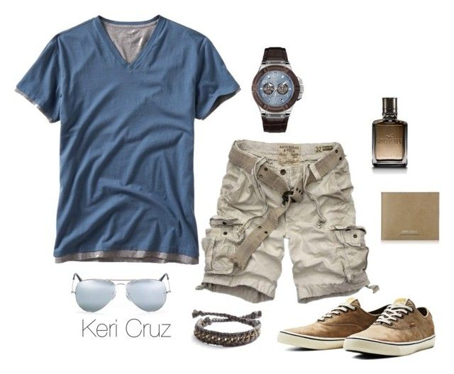 Men's Summer Style by keri-cruz on Polyvore featuring Gap, Abercrombie & Fitch, Jack & Jones, Ray-Ban, GUESS, Jimmy Choo and Hollister Co.