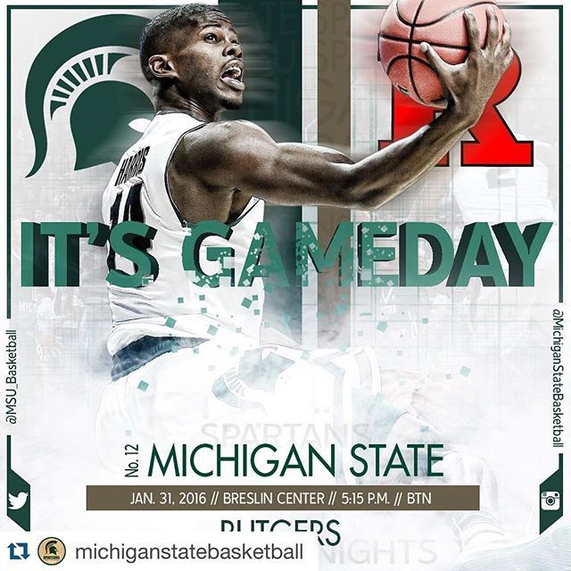 Follow @michiganstatebasketball for great coverage of Spartan Basketball.  #Repost @michiganstatebasketball ・・・ It's Gameday! The Spartans host Rutgers at 5:15 p.m. on @bigtennetwork.
