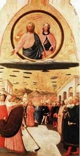"""The above picture shows Jesus and Mary on what appear to be disc-shaped lenticular clouds. It is titled """"The Miracle of the Snow"""", by Masolino Da Panicale (1383-1440). It hangs at the church of Santa Maria Maggiore, Florence, Italy."""