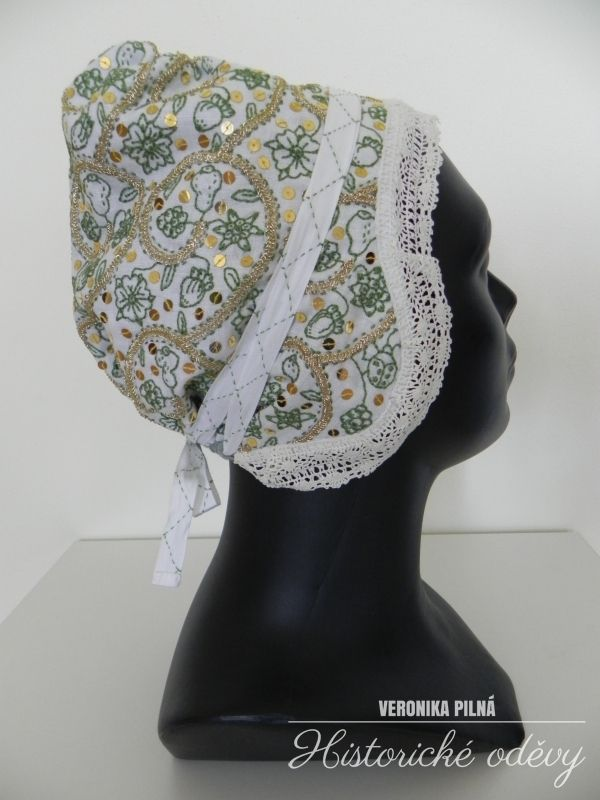 blackwork embroidery coif, 17. century