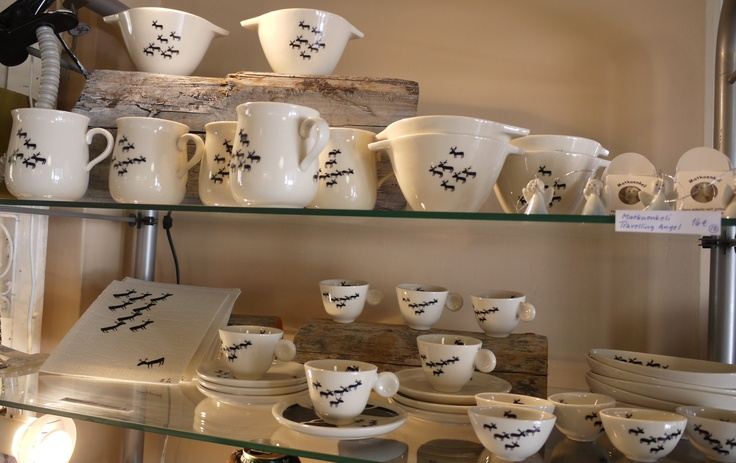 Taikarasia: ceramic kitchenware by Studio Sylvi Lindström, featuring her distinctive reindeer motif.