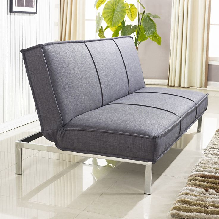 Vitoria 76 inch charcoal grey sleeper sofa bed with french for Sofa bed overstock