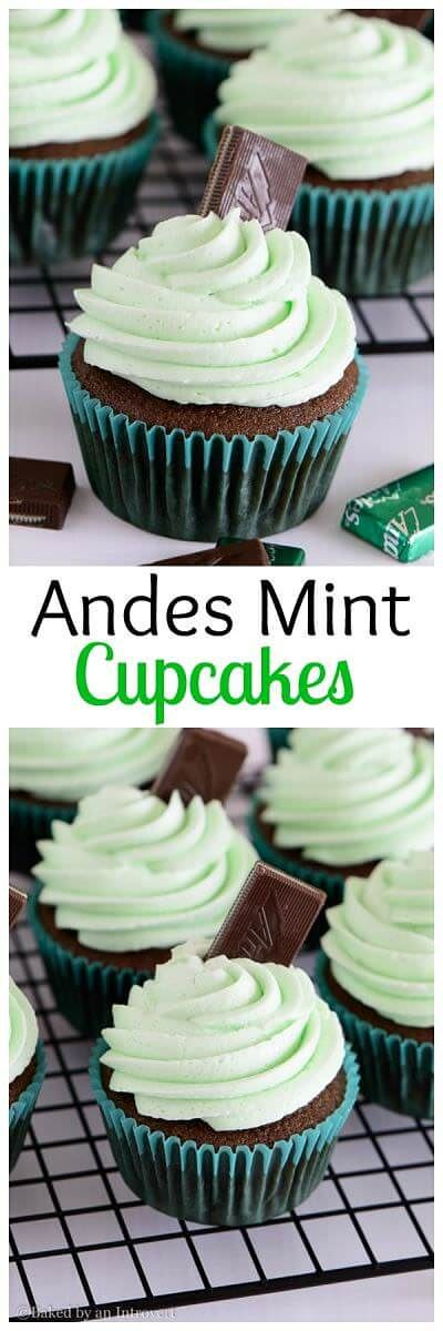 Andes Mint Cupcakes are the best homemade chocolate cupcakes topped with thick and creamy mint frosting. They taste just like the Andes mint candy! via @introvertbaker