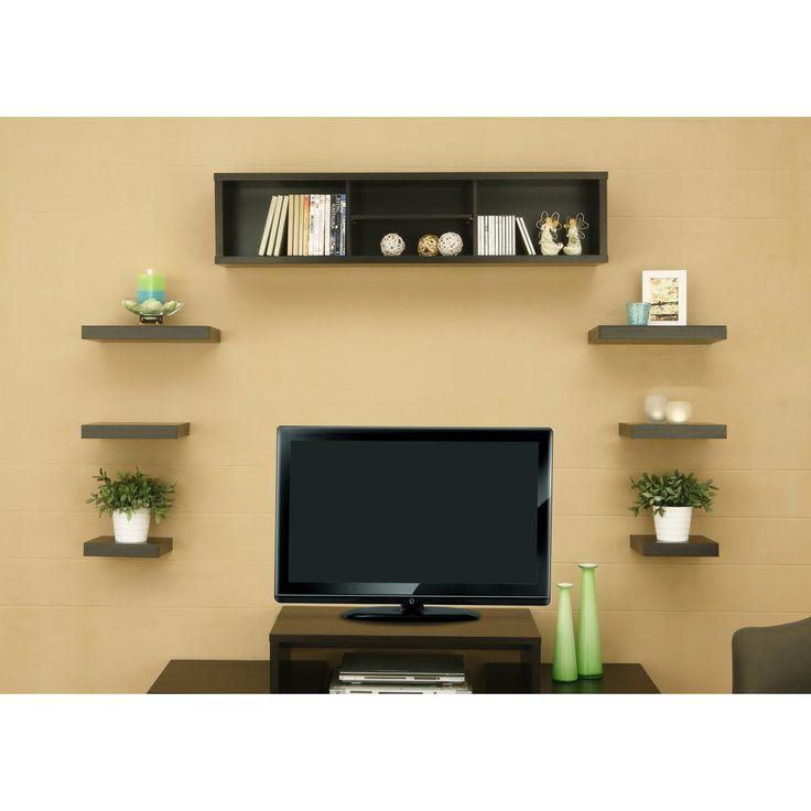 Best 25 shelves around tv ideas on pinterest - Wooden tv wall shelf ...