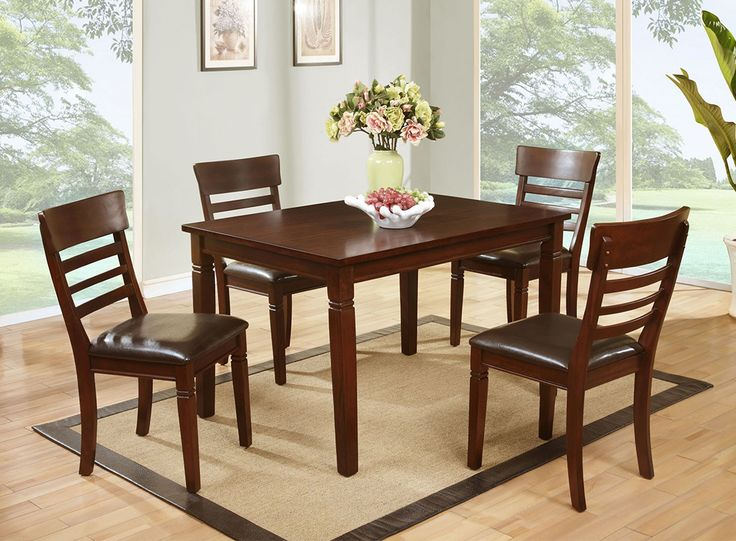 5 Piece Cherry Dinette Table And 4 Chairs 39900 Dk Finish 36 X Dining Room