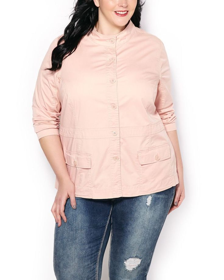 Inspired by military fashion, this stylish plus-size utility jacket is a perfect spring top layer thanks to its soft hue and cozy cotton blend fabric. It has a button-up front, long sleeves and flap pockets. A perfect transitional piece!