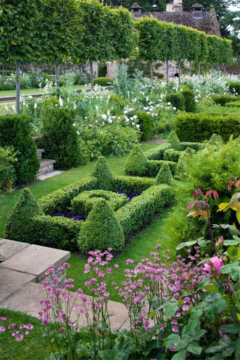 Commissioned to restore the gardens at Temple Guiting, a 15th-century Cotswold manor, Blom created garden rooms bound by new dry-stone walls, like this boxwood and yew parterre garden guarded by pleached hornbeam trees. The gumdrop-shaped corners of the parterres, along with the looser borders of white foxgloves and roses, demonstrate Blom's deft combining of restraint and whimsy. | Photo by:  Andrew Lawson