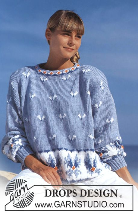 """DROPS 22-5 - DROPS jumper with ice flower pattern in """"Paris"""". - Free pattern by DROPS Design"""