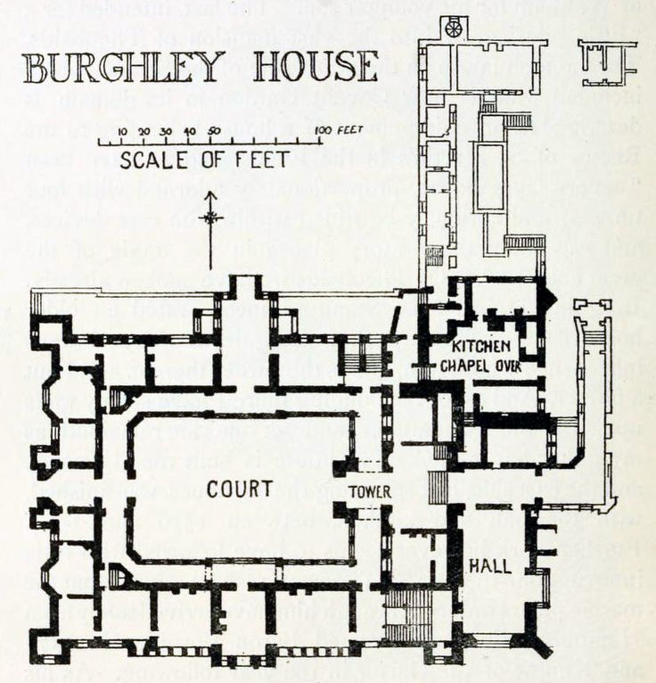 Plan of burghley house england floor plans castles for Goan house designs and floor plans