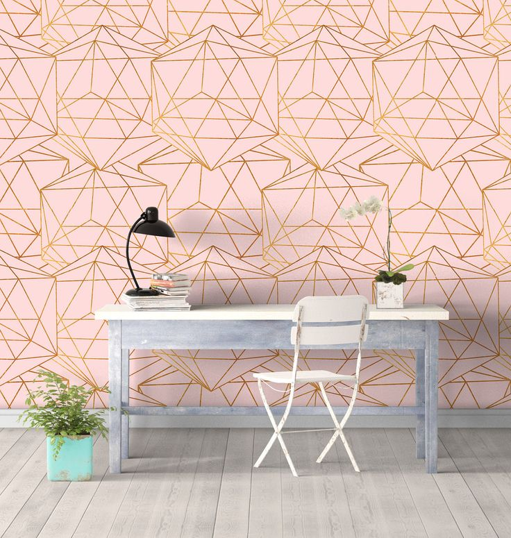 Geometric Glam Wall Covering Art Removable Self-Adhesive