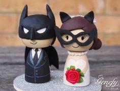 Topper de gâteau de mariage super-héros mignon BATMAN et CATWOMAN
