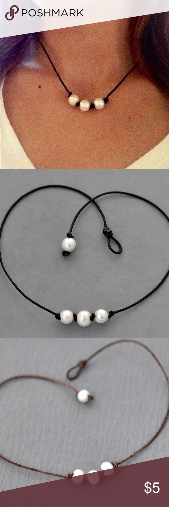 Boho Triple Pearl Leather Necklace Nwt