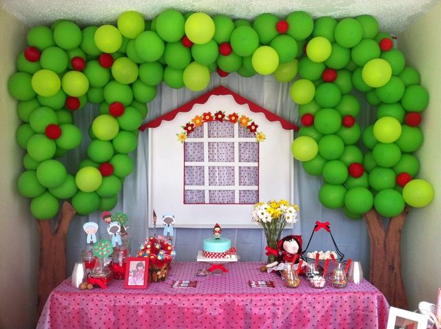 Fantastic balloon backdrop at a Little Red Riding Hood party! See more party ideas at CatchMyParty!