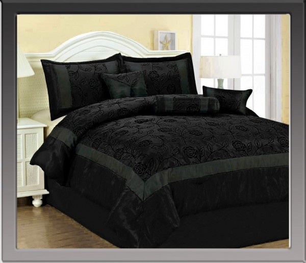 Black On Black Rose Bedding For The Home Pinterest