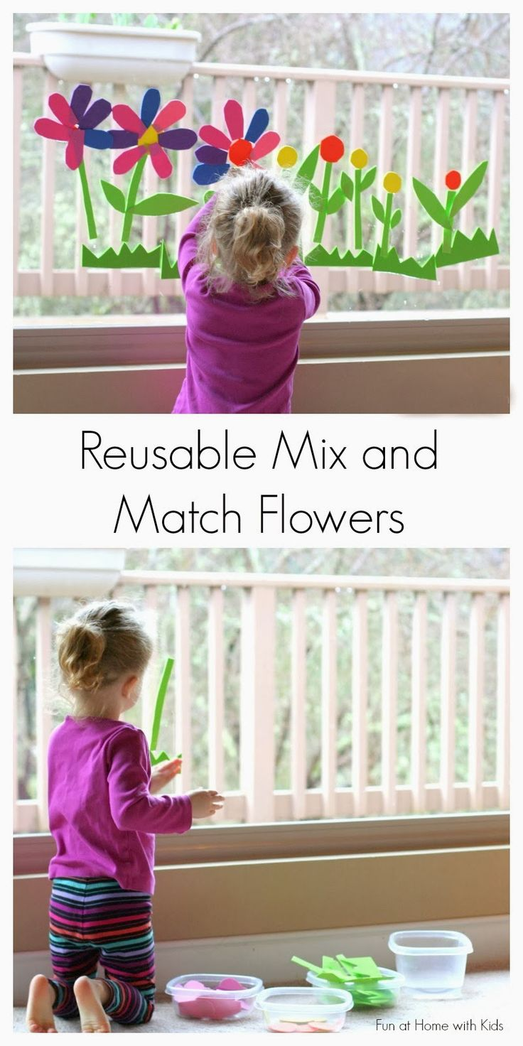 Reusable Spring Flowers Bath/Window Art from Fun at Home with Kids