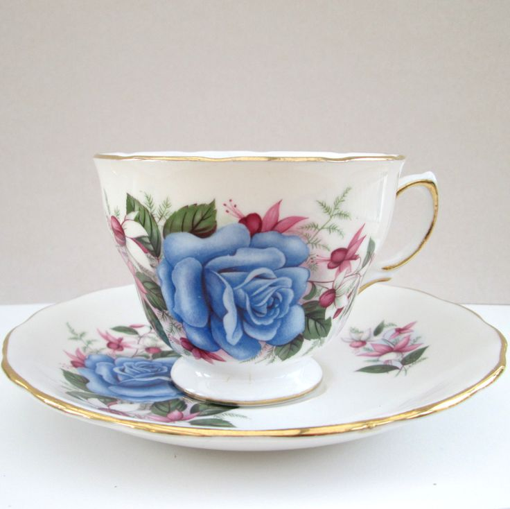 Repurposed, Upcycled recycled vintage china tea cup and saucer ~ Tea cup planter ceramic plant pot, unusual gift for Mum's birthday Get Well by BlueBoxStudio on Etsy