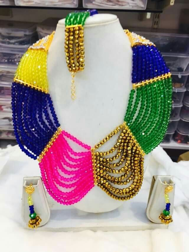 Multi Color Stone Statement Bib Necklace - Product ID: 5165 Click Here to Buy: http://bit.ly/1PMz2mi www.africanboutique.in #AfricanBoutique #Perlage #BuyNow #Chiffon #Georgette #Sale #Abaya #Kaftan #Caftan #Embroidery #Spandex