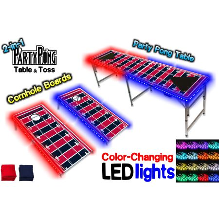 2-in-1 Cornhole Boards & Beer Pong Table w/ Color-Changing LED Glow Lights - Houston Football Field, Silver
