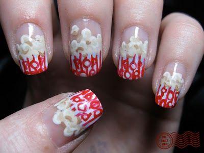 popcorn!!: Daily Nails, Pop Art, Nails Art, Nails Design Of Popcorn, Popcornmovi Night, Night Nails, Pop Corn, Popcorn Nailsth, Popcorn Movie