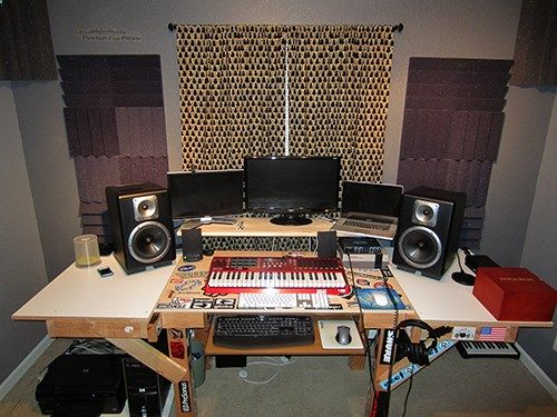 """""""I completely hand-built the desk and it features a PC attached to one monitor (left) and my MacBook Pro attached to the large monitor. Other gear includes: AKAI MAX 49, Focusrite Saffire Pro 24 DSP (sits on original Nintendo), two TAPCO S-8 Active Studio Monitors, and my vast sticker collection."""" #FullSailBattleStations - Matthew Mangini (Music Production)"""