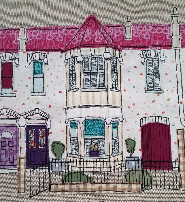 Bespoke+freestyle+machine+embroidery+house+picture+-+new+home+gift £30.00