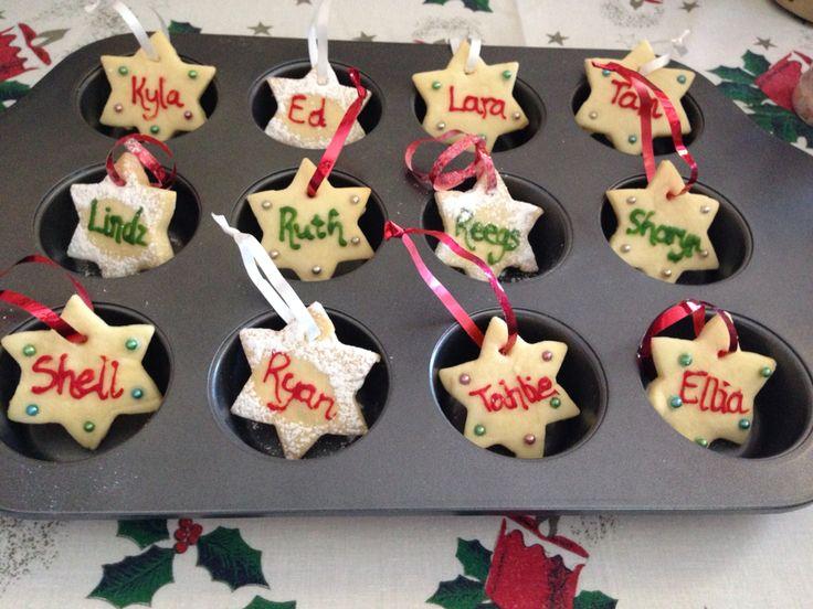 Christmas table decorations - shortbread stars