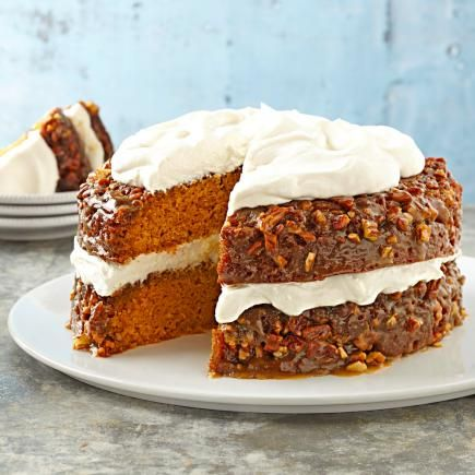 Pumpkin-Praline Layer Cake: This nutty layer cake is a favorite dessert with Midwest Living® readers. Whipped cream topping complements a moist filling of pumpkin, brown sugar, pecans, butter and more whipping cream.