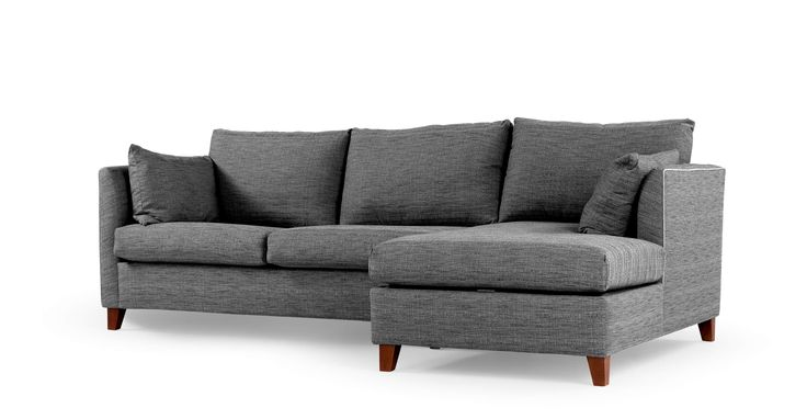 Bari Corner Storage Sofabed, Right Hand Facing, Malva Graphite | made.com, £949, W255 x D152cm, fixed covers