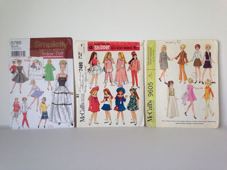 VINTAGE McCall's and Simplicity Fashion Doll Clothes Patterns (Sixties?) — for sale on Ebay