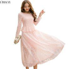Длинные Кружевные Платья Для Женщин Весна 2017 Тонкий Элегантный Розовый дамы кружева Платья Плюс Размер Одежды Мода Искусственного Двух Частей Dress XL(China (Mainland))