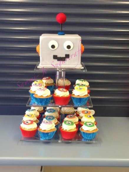 Robot cupcake tower - by Sammi-Jo Sugarcraft @ CakesDecor.com - cake decorating website