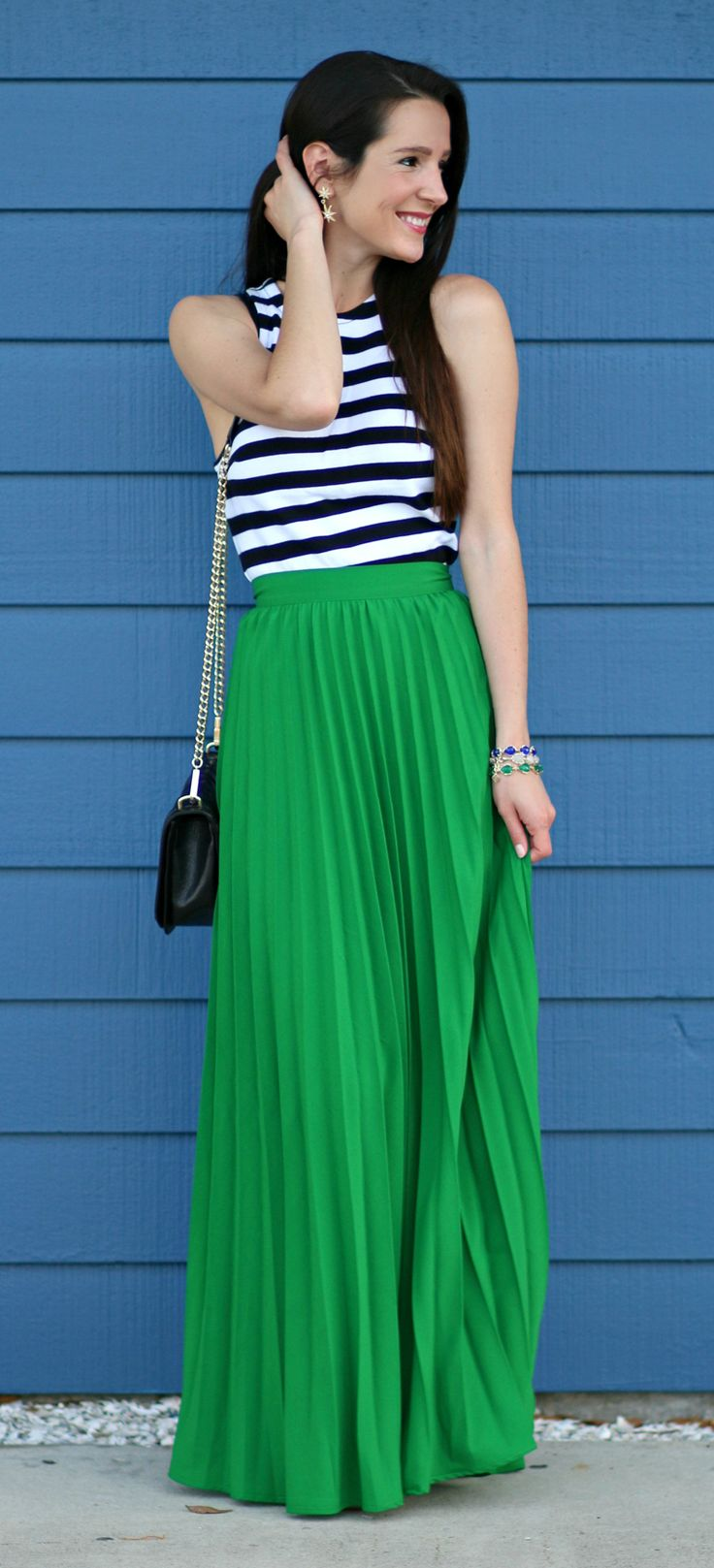 Pleated kelly green maxi skirt with a Banana Republic rugby stripe tank, black Rebecca Minkoff Love Crossbody bag, and nude Tory Burch Miller sandals. Cute spring outfit idea!