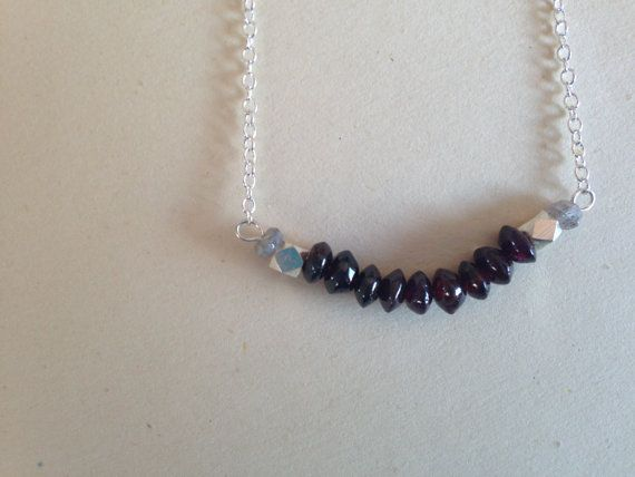 Sterling Silver Necklace: Dainty Silver, Labradorite and Garnet Beads  by sarahrodger, $35.00 on Etsy
