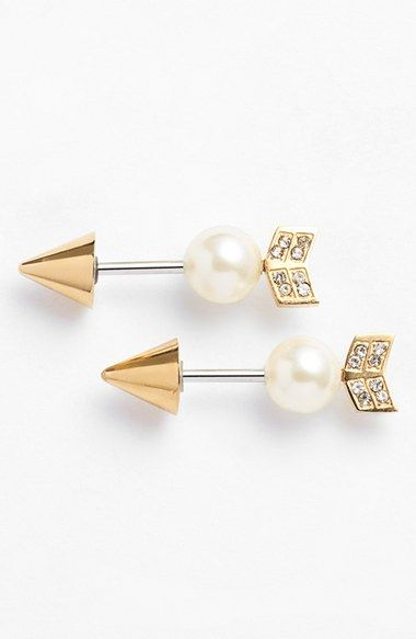 Women's Rebecca Minkoff Reversible Arrow Stud Earrings - Gold/ Pearl Gold/ Pearl One Size by: Rebecca Minkoff @Nordstrom