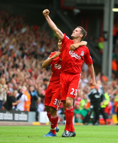 Carra celebrates an 85th minute equaliser against 'Boro at Anfield - Steven Gerrard would add the winner five minutes later